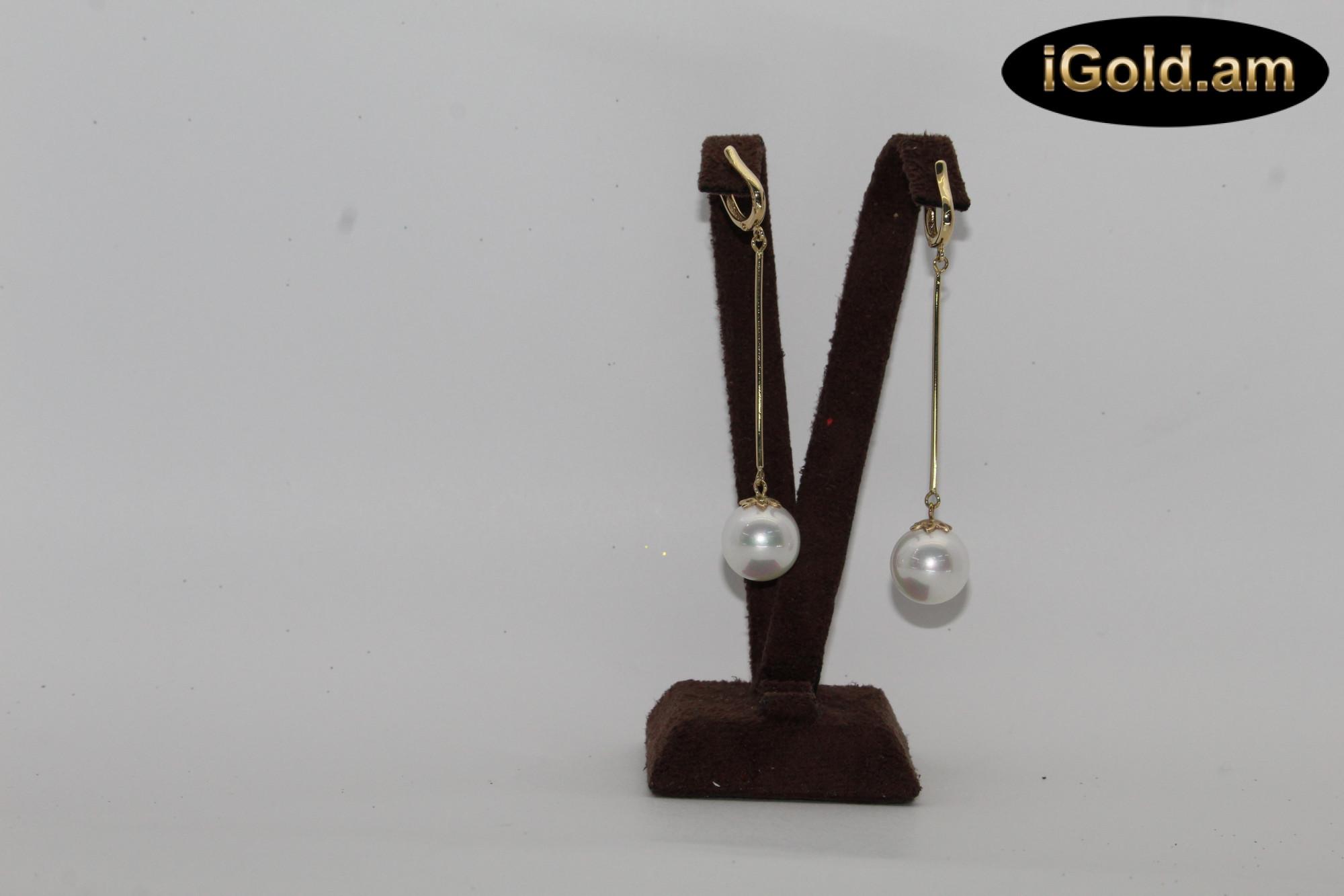 Ոսկյա կանացի ականջօղեր մարգարիտով - 3.8 գր - կոդ 119-122 voskya kanaci akanjoxer margaritov - 3.8 gr