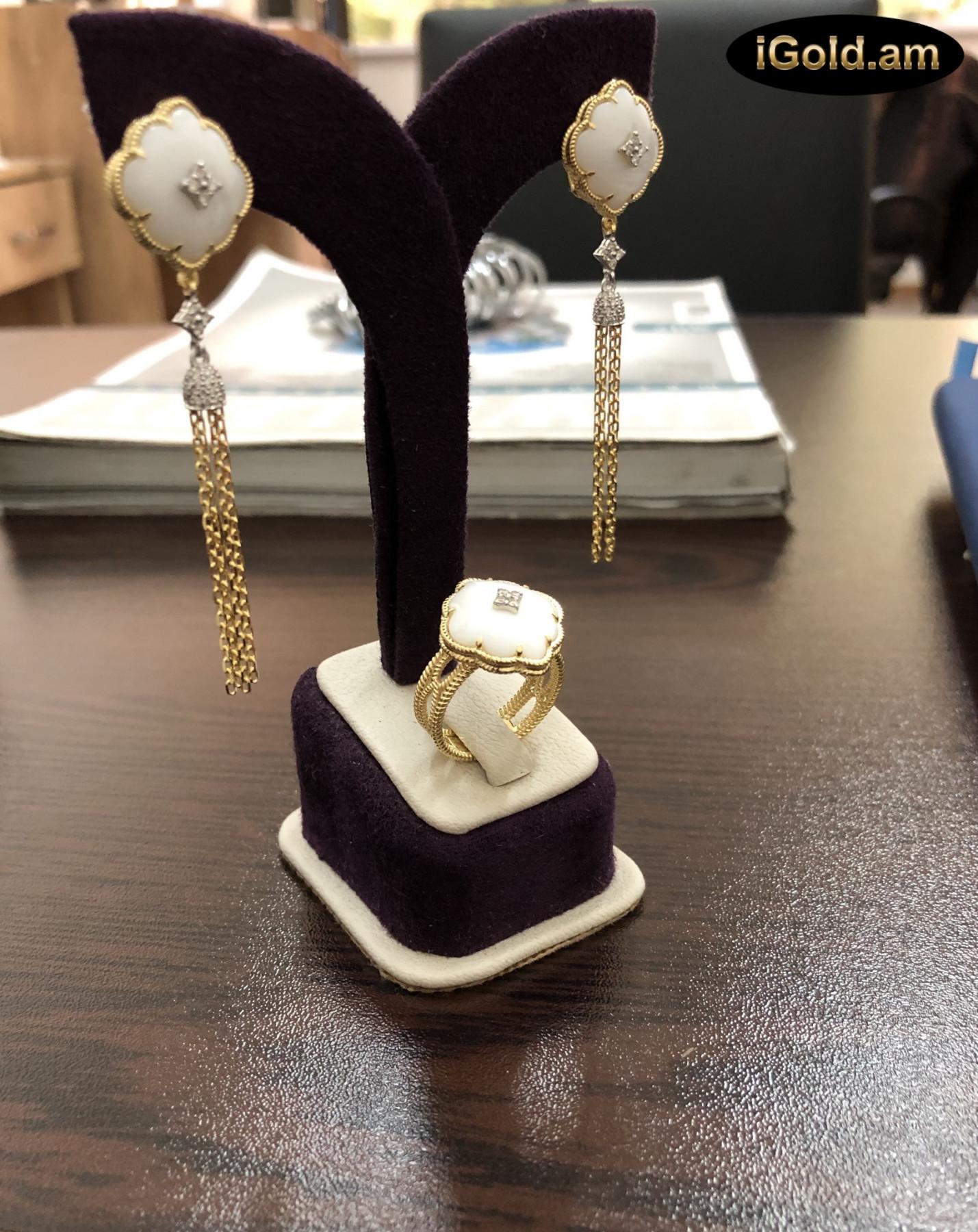 Ոսկյա կանացի էքսքլյուզիվ զարդեր ադամանդով, - 13.8 - կոդ 151-705 voskya kanaci eqsqlyuziv zarder adamandov, - 13.8