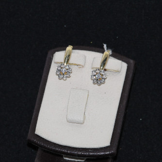 Ոսկյա կանացի ականջօղեր ադամանդով - 4.5 գր - կոդ 111-101 voskya kanaci akanjoxer adamandov - 4.5 gr