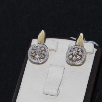 Ոսկյա կանացի ականջօղեր ադամանդով - 7.7 գր - կոդ 126-109 voskya kanaci akanjoxer adamandov - 7.7 gr