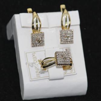Ոսկյա կանացի հավաքածու ադամանդով - 8.3 գր - կոդ 110-111 voskya kanaci havaqacu adamandov - 8.3 gr
