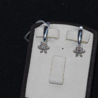Ոսկի կանացի ականջօղեր ադամանդով - 3.7 գր - կոդ 115-144 voski kanaci akanjoxer adamandov - 3.7 gr
